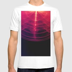 Pink Pulse Abstract White MEDIUM Mens Fitted Tee