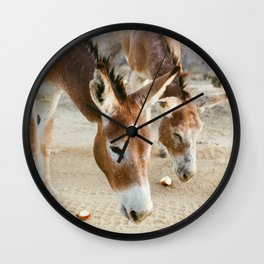 Two Donkeys Eating Apples Wall Clock