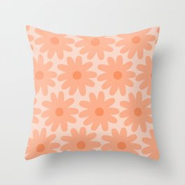 Crayon Flowers Smudgy Soft Pastel Floral Pattern in Apricot Throw Pillow