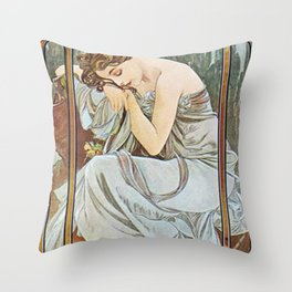 Alphonse Mucha Nocturnal Slumber Throw Pillow