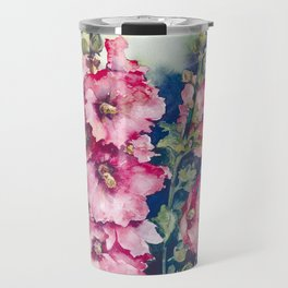 Watercolor Hollyhocks pink flowers Travel Mug