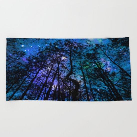 Black Trees Teal Purple Space Beach Towel