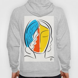 Graphic Minimal Portrait Design Orange Yellow and Blue Hoody