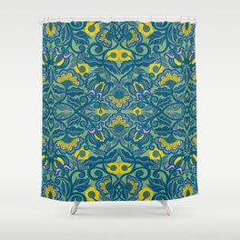Blue Vines and Folk Art Flowers Pattern Shower Curtain