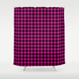 Shocking Hot Pink Valentine Pink and Black Buffalo Check Plaid Shower Curtain