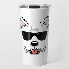 Cute White Terrier Westie Dog Face with Sunglasses for Westie Lovers Travel Mug