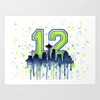 seahawks Art Prints featuring Hawks 12th Man Fan Art by Olechka
