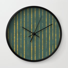 Modern Hand-painted Stripes in Dark Green Color and Gold Texture, Abstract Painting Wall Clock