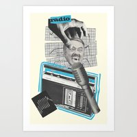 radio Art Prints featuring Radio by collageriittard