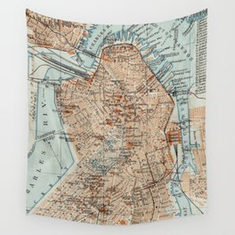 Vintage Map of Boston MA (1906) 2 Wall Tapestry