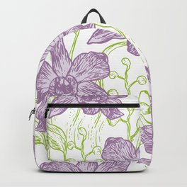 Orchid flowers. Hand drawn on white background olive Green pink purple contour sketch Backpack