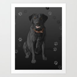 Black Labrador Retriever Paw Prints Art Print
