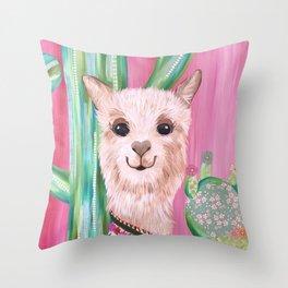 Smiling Alpaca with Cacti Throw Pillow