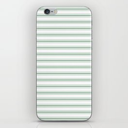 Moss Green and White Mattress Ticking Wide Striped Pattern iPhone Skin