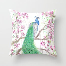 """Watercolor Painting of Picture """"Peacock"""" Throw Pillow"""