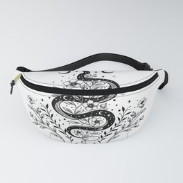 Serpent Spell -Black and White Fanny Pack