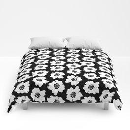 Linocut botanical nature floral flower art nursery black and white decor newborn Comforters