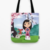 mulan Tote Bags featuring Mulan by Loud & Quiet