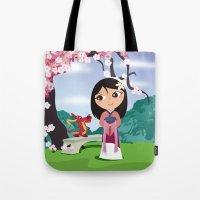 mulan Tote Bags featuring Mulan by Loud & Quiet