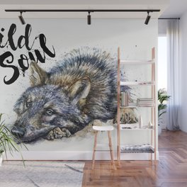 Wolf watercolor painting Wild Soul Kostart Wall Mural