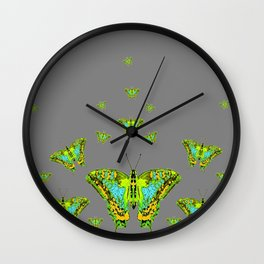 BLUE-GREEN-YELLOW PATTERNED MOTHS ON GREY Wall Clock