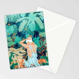 Backyard #illustration #painting Stationery Cards