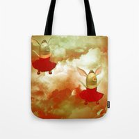 pigs Tote Bags featuring Flying pigs by Annabellerockz