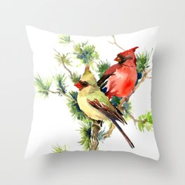 Cardinal Birds on Pine Tree Throw Pillow
