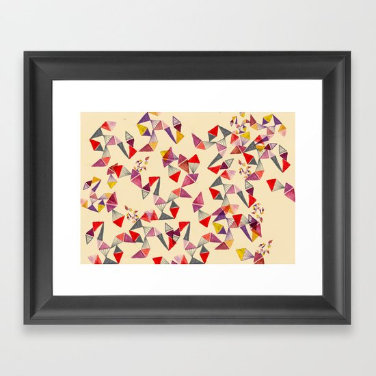 watercolour geometric shapes Framed Art Print