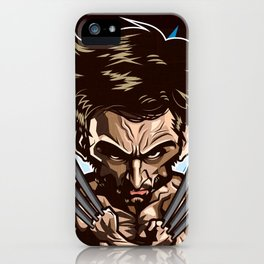 Hugh Jackman as Wolverin Vector Caricature iPhone Case