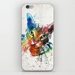 Colorful Cat Art by Sharon Cummings iPhone Skin