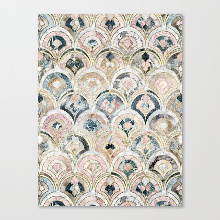 Art Deco Marble Tiles in Soft Pastels Leinwanddruck