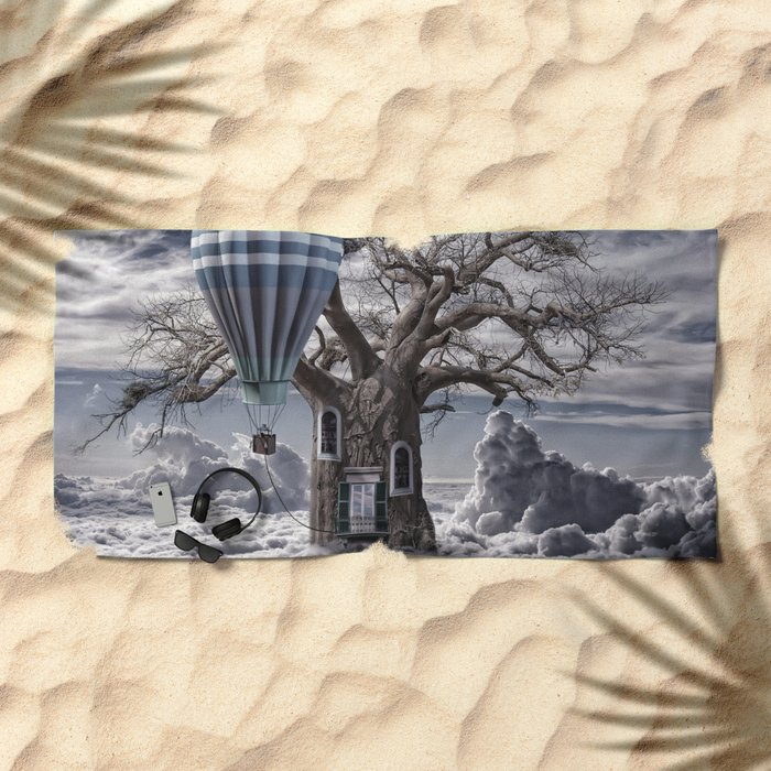 Home tree up in the clouds Beach Towel