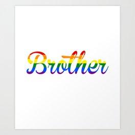 Free Brother Hugs Rainbow Heart LGBT Pride Month Art Print