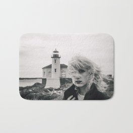 Girl in the Wind at Coquille River Lighthouse - Bandon, Oregon Black and White Photograph Bath Mat
