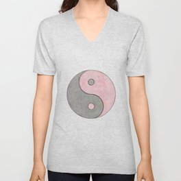 Yin Yang Esoteric Symbol Pastel Pink And Grey Unisex V-Neck