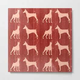Red wooden board with dobermans shapes Metal Print