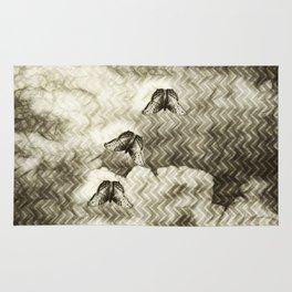 Butterflies against an abstract landscape Rug