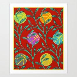 Basketball Flowers Art Print