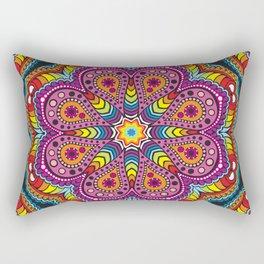 rastafarian mandala in rainbow colors Rectangular Pillow