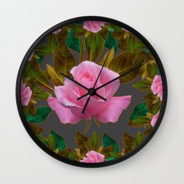 LEAFY PINK ROSE GARDEN & GREY PATTERNS ART Wall Clock