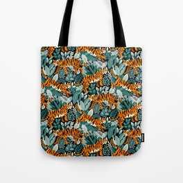 Bengal Tiger Teal Jungle Tote Bag