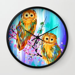 2 Owls with Cherry Blossom Wall Clock