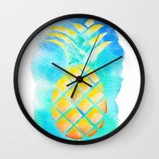 Tropical Hawaiian Pineapple Watercolor Wall Clock