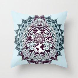 evolution of earth mandala Throw Pillow