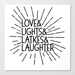 LOVE & LIGHTS & LATKES & LAUGHTER Hanukkah ampersand design Canvas Print