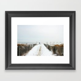 Snow Covered Beach Framed Art Print