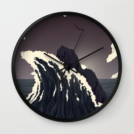 Lone Rock Against the Waves Wall Clock