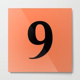 9 (BLACK & CORAL NUMBERS) Metal Print