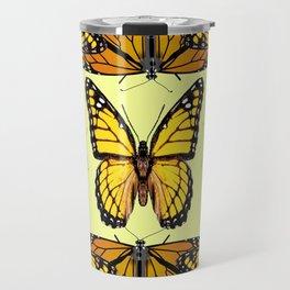YELLOW & ORANGE MONARCH BUTTERFLIES PATTERNED ART Travel Mug